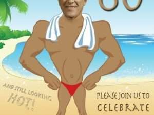 Beach Muscle man invitation