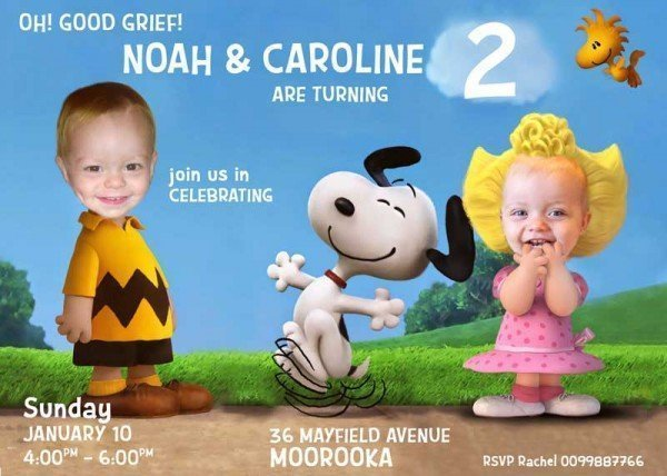 Charlie Brown and Sally Invitation