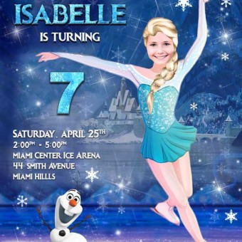 Elsa ice skating Invitation