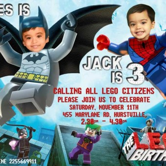 Lego Twins Invitation