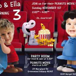 Peanuts Movie Twins Invitation