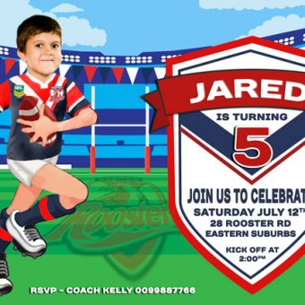 NRL Roosters Birthday Invitation