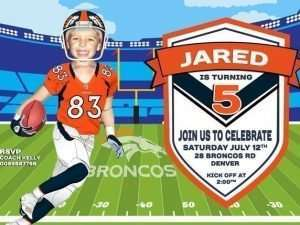 Denver Broncos Birthday Invitation