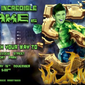 the Hulk Caricature Birthday Invitation