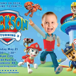 Paw Patrol Invitation with own hair