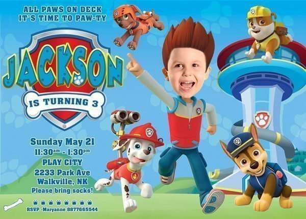 Paw Patrol Invitation with RYDER'S hair