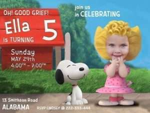 Sally & Snoopy Birthday Invitation