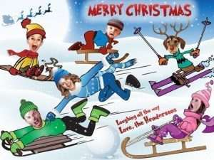 Snow Sled Caricature Christmas Card