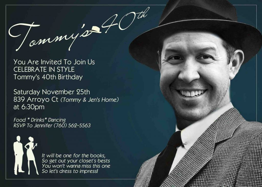 Frank Sinatra Photo Custom Birthday Invitation
