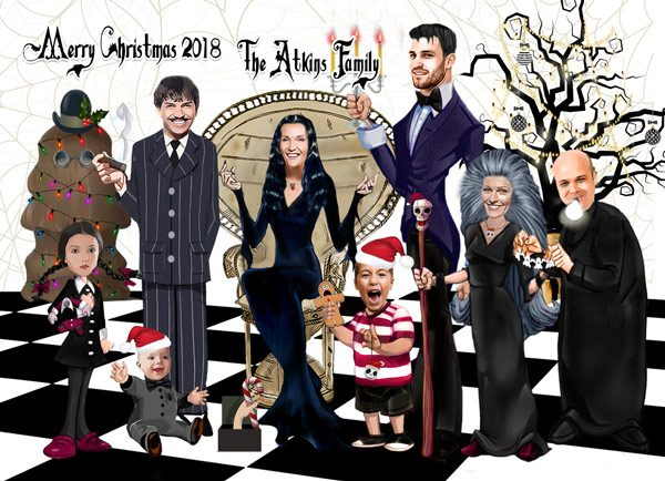 Addams Family Christmas Card