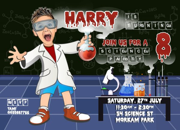 Mad Scientist Boys invitation