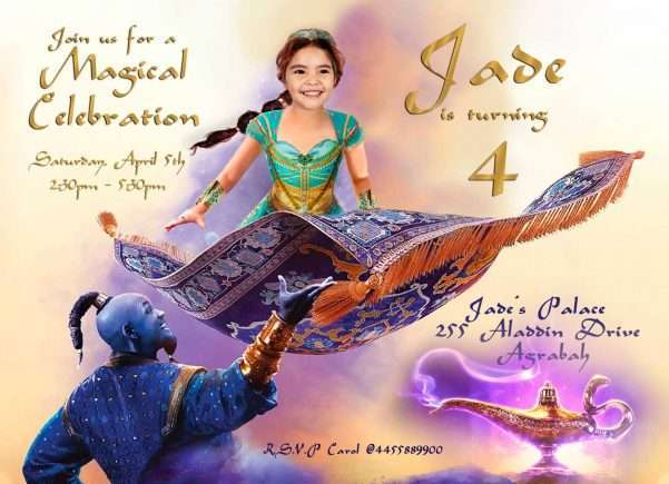 Princess Jasmine Birthday Invitation